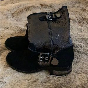 Vince Camuto black suede and reptile boots